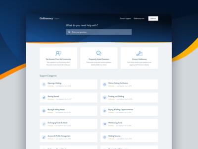 Goldmoney Support zendesk fintech goldmoney mike busby web design support center help center support portal