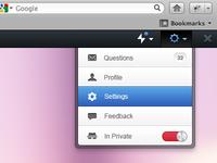 Settings drop down menu - Toolbar