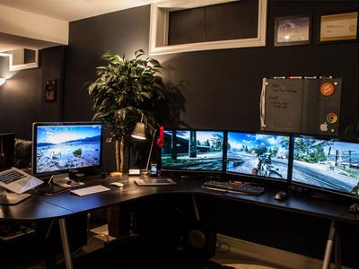 Workspace office studio work space home studio home office workspace workstation apple cinema display mike busby designer workspace macbook