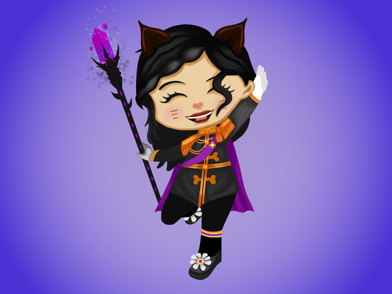 Wizard101 - Amy wizard101 wizard witch uniform magic cat illustration fantasy cute chibi