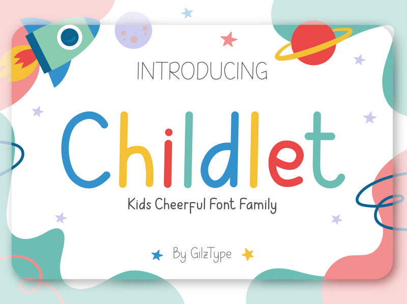 Childlet - Kids Cheerful Font Family poster logo school alphabet lettering children style love text girl kids fun kid cartoon childhood child cheerful family font typography
