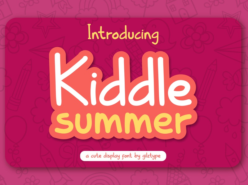 Kiddle Summer - Cute Display Font text school typeface handwritten typogaphy girl storybook cute display kid fun font family children childhood child cheerful cartoon alphabet