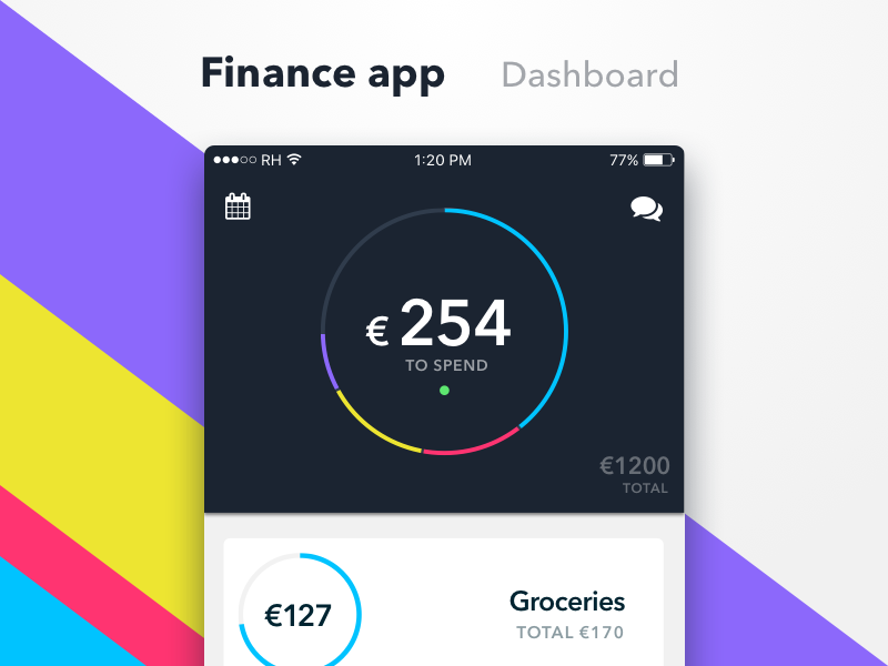 Finance app colors purple blue smartphone iphone app personal money saving dashboard financing finance