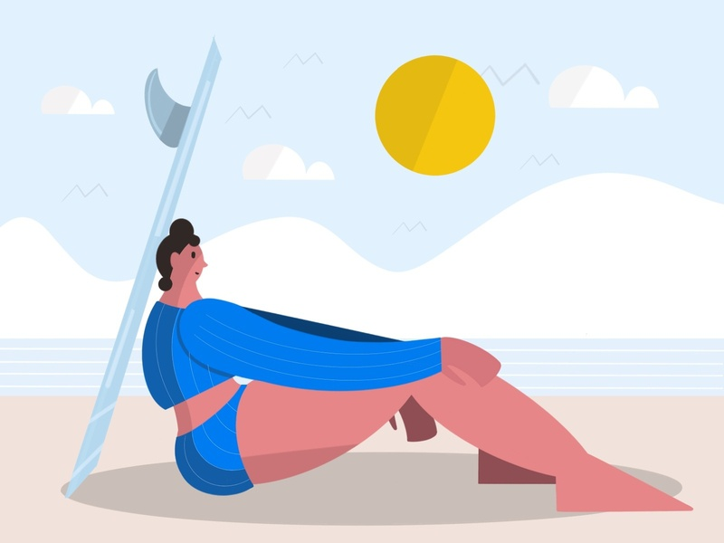 Beach design drawing vector color character illustration