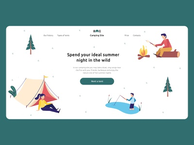 Roll - Camping Site | Landing Page tents summer camp tent landing page website ui web ux minimal design
