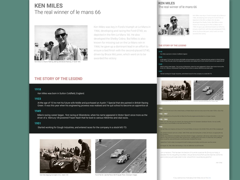 Ken Miles Tribute Page typography vector design tribute web design 2020