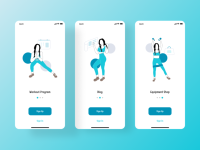 Workout App Onboarding onboarding screens onboarding illustration onboarding flow onboarding ui onboarding workout app sport mobile app design mobile design mobile app mobile ui flat illustration design vector user interface design ui dailyuichallenge daily ui daily 100 challenge
