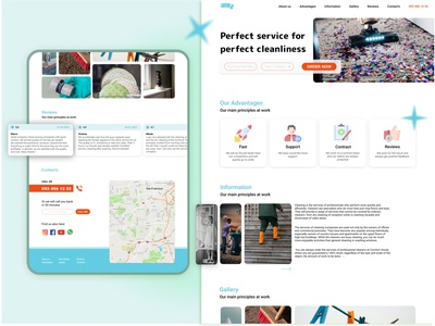landing for Cleaning company logo interface figmadesign web design clean design reviews color clean ui web cleaning service cleaning company ui concept ux design