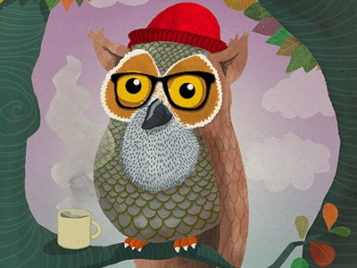 Hipster Owl illustration owl tree hipster glasses coffee hat