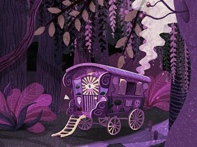The Tattooed Lady's Caravan illustration wood trees gypsy tattoo caravan