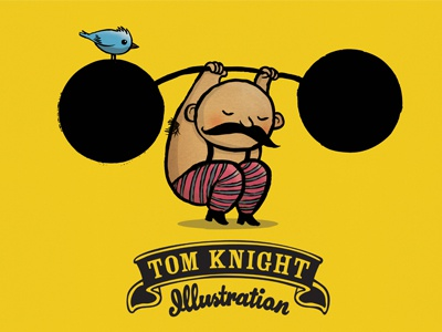 Weightlifter weightlifter moustache bird cartoon illustration