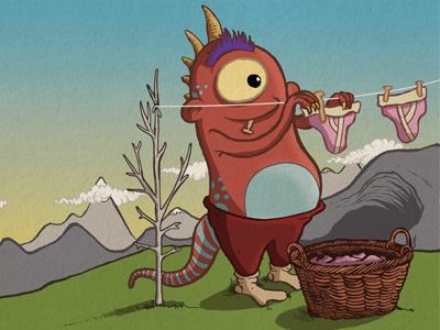 Monster illustration monster pants cave washing