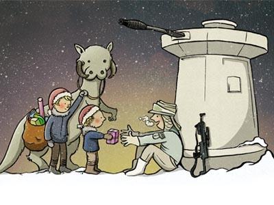 Christmas Card christmas illustration star wars hoth tauntaun