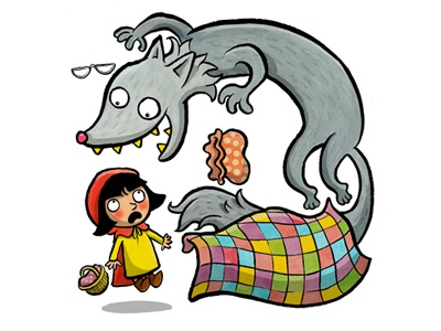 Red and the wolf illustration childrens wolf