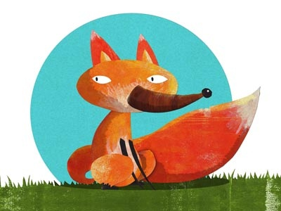 Fox illustration childrens fox cutout ink
