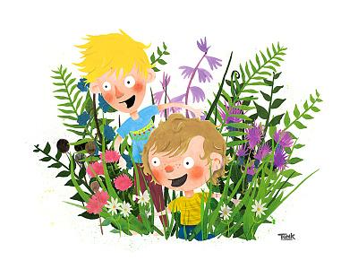 Summertime kids illustration fun garden foliage