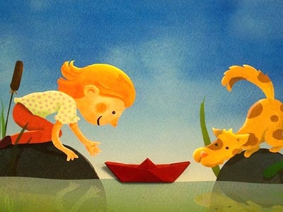 Greeting card 2 illustration paper boat origami