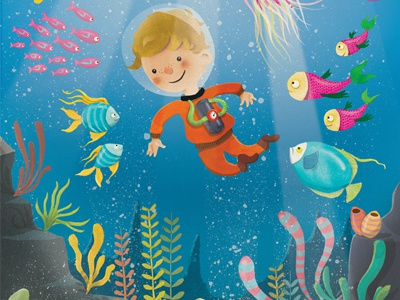 Seth Underwater kids underwater sea aquarium fish seaweed plants illustration bright