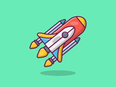 Space roket graphic flat design icon vector branding illustration