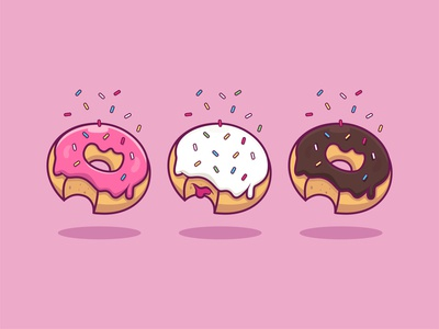 You're A-glaz-ing! graphic design chocolate vanilla pretty cute donut shop 3d artist drawing illustration food icon set icon donut design illustrator branding logo art adobe