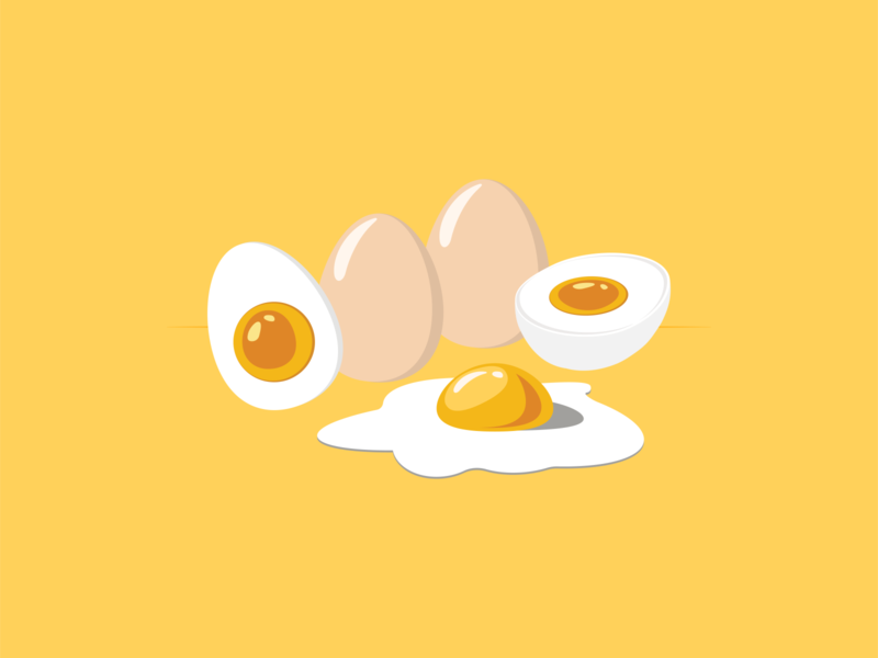 Eggs restaurant yum food breakfast love egg flat drawing artwork art adobe illustration vector illustrator design icons yellow logo icon eggs