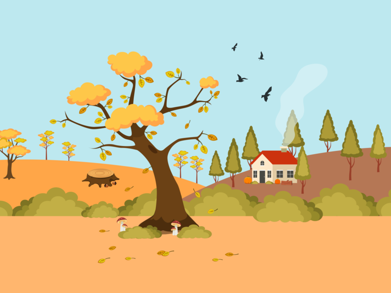 Fall is Coming! designer adobe illustrator colors nature composition flat landscape leaves autumn leaves autumn fall drawing artist illustrator art illustration art vectorart image vector illustration