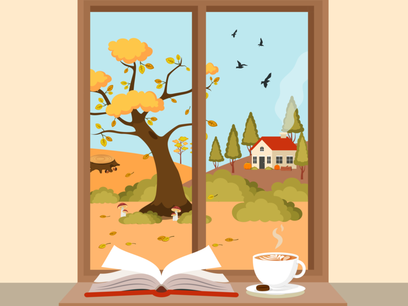 Fall Through the Window vectors vectorart vector nature leaves landscape image art illustrator flat falls drawing designer composition fall colors autumn leaves autumn illustration art fall illustration