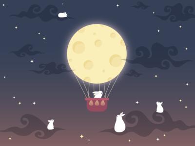 Moon Balloon draw starry balloon drawing logo illustrator design illustration adobe illustrator art artist vector adobe stars cute rabbits bunny night sky moon