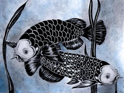 Twin Arowanas illustration artist pretty artwork watercolor paint fish illustrator artist traditional peacock type chinese nature image illustration art illustration drawing designer composition art