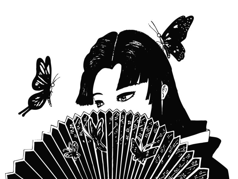 For Your Eyes tattoo design tattoo traditional art japanese art japanese fan bw blackandwhite beautiful butterfly ui design drawing artist icon logo adobe illustration vector illustrator