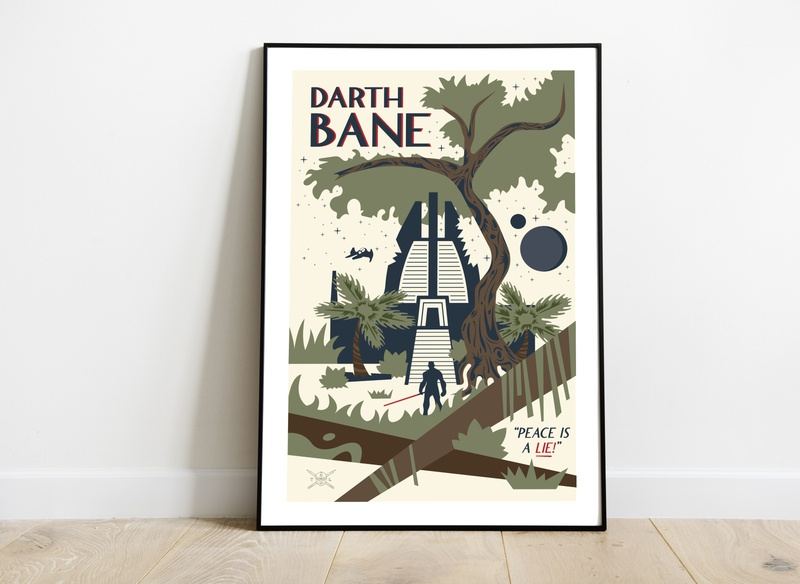 Darth Bane Poster art temple tree jungle stars space poster art poster darth bane sith star wars art starwars star wars nature illustration landscapes design vector illustration