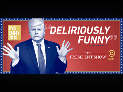 The President Show: Emmys LA Billboard - original concept, v1 the president show television print photoshop graphic design entertainment design comedy central comedy billboard adobe creative suite