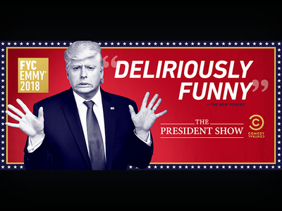 The President Show: Emmys LA Billboard - original concept, v2 the president show television print photoshop graphic design entertainment design comedy central comedy billboard adobe creative suite