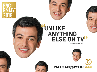 Nathan For You: Emmys New York Subway 2-sheet television print photoshop nathan for you nathan fielder graphic design entertainment design comedy central comedy subway adobe creative suite