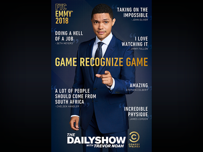 The Daily Show: Emmys LA Bus Shelter television print photoshop the daily show graphic design entertainment design comedy central comedy bus shelter adobe creative suite