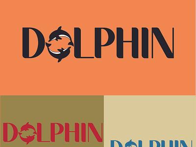 DOLPHIN icon typography vector illustration design logo branding