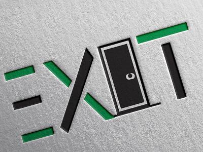EXIT icon typography vector logo illustration design branding