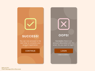 Daily UI 011 • Flash Message (Error/Success) userinterface message daily100 success message error message interface uiux sketch design ui error success message flashmessage flash message daily100challenge 011 dailyui011 dailyuichallenge dailyui