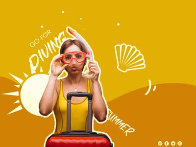 Poster design digital art summer diving girl poster design poster vector creative art photoshop graphicdesigner graphic graphic design branding adobe photoshop