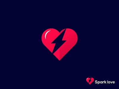 Spark Love logo logos best dribbble shot best design best shot best spark logomaker logomark logosai inspiration logo inspiration logo design clean love bolt heart minimalist modern creative logo