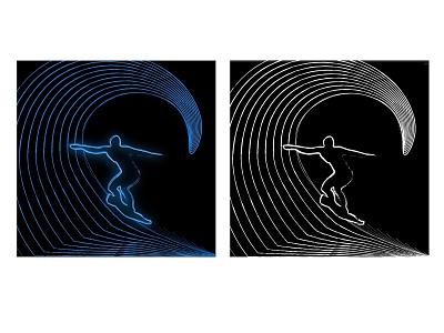 Surfing - Line art - Illustration adobe illustrator flat photoshop logo design vector illustration branding animation art