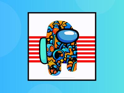 Among us Bean Fan art Illustration fantasy blue icon adobe illustrator draw flat adobe illustrator design animation illustration vector art fanart among us