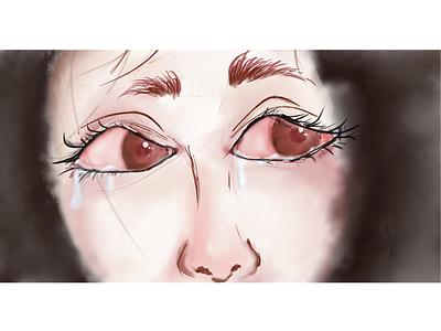Your eyes can't hide the Pain portrait painting words people women girl fear tears eyes portrait art portrait minimal adobe illustrator design animation vector illustration art