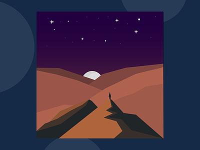 Sky Full of Stars lowpoly hills alone lone galaxy dark sky stars night moon mountains portrait adobe illustrator draw flat minimal adobe illustrator design animation vector illustration