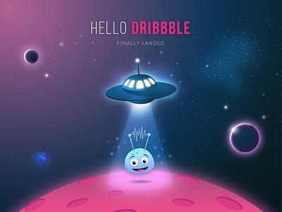 Hello Dribbble dribbble vector illustration invite planet space cosmos