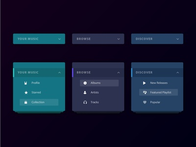 UI Elements - Category Cards category elements ui cards music