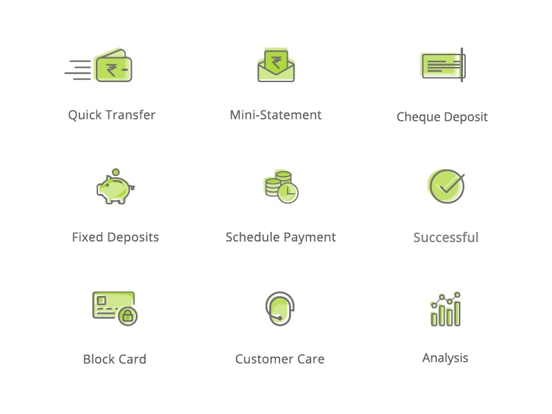 Banking App Icons shift color payments bank illustration icons banking