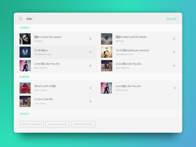 Music Search search results album tracks display search music