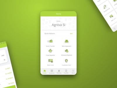 Banking App - Home screen home shortcuts transfer bank product design ui app banking
