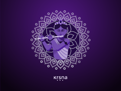 Krsna flute purple divine krsna illustration krishna